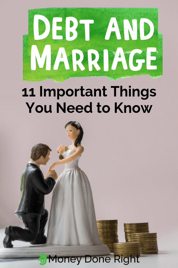 When you marry someone, you're combining your financial lives. So to prepare you for what's ahead, here are the most important things you should know about debt and marriage. #debtandmarriage #thingstoknow