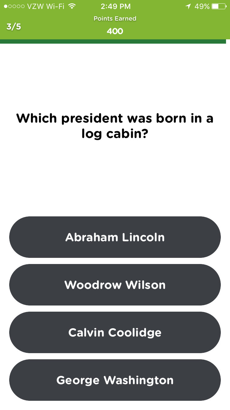 Which president was born in a log cabin