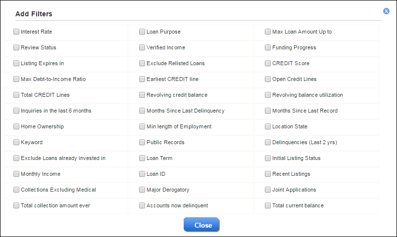 LendingClub Investing Loan Filters