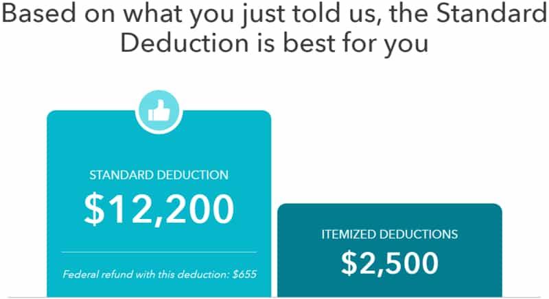 TurboTax Standard Deduction vs. Itemized Deductions
