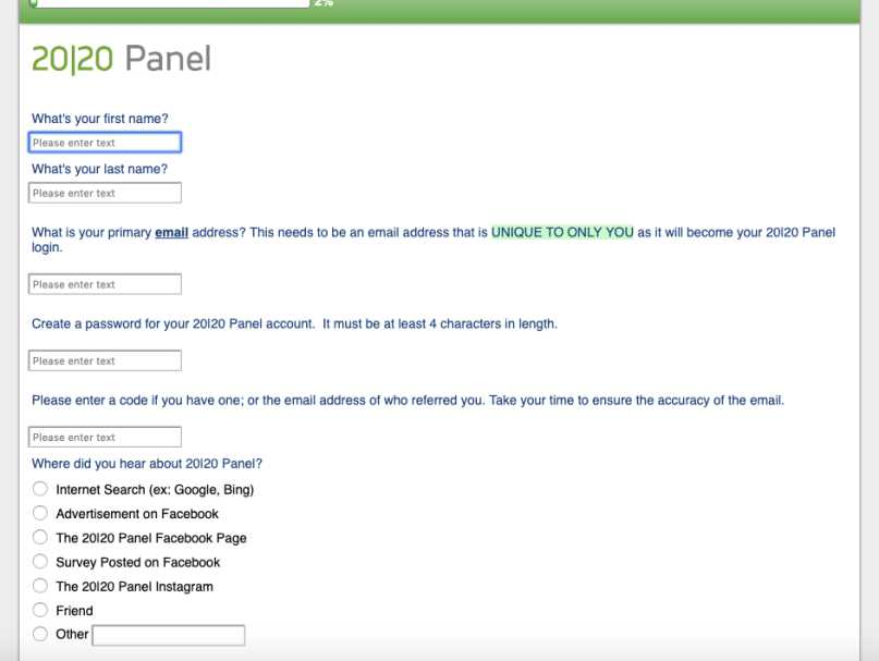 2020 Panel Review - Signup