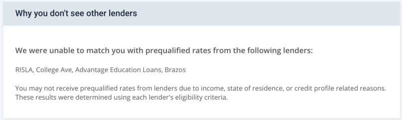 Credible Lenders Not Included