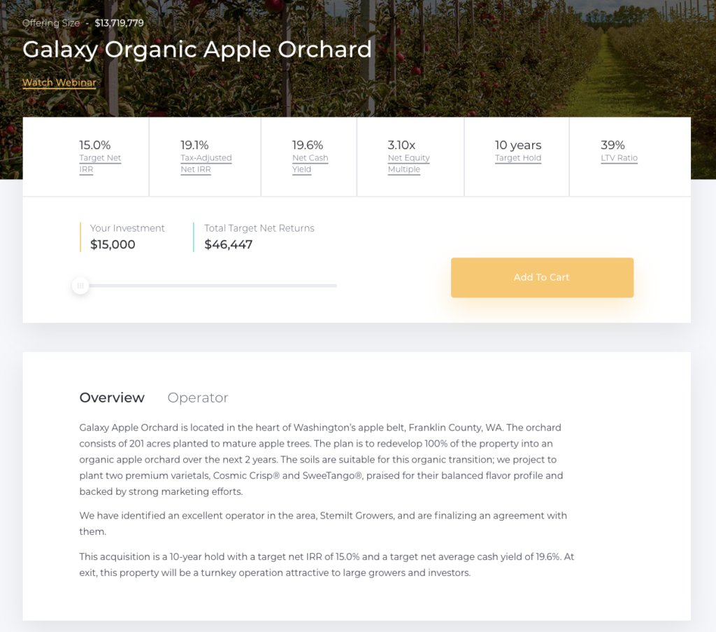current offering galaxy organic apple orchard