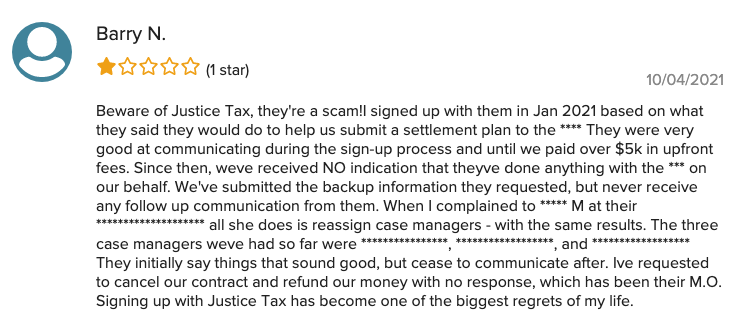 Justice Tax BBB Negative Review