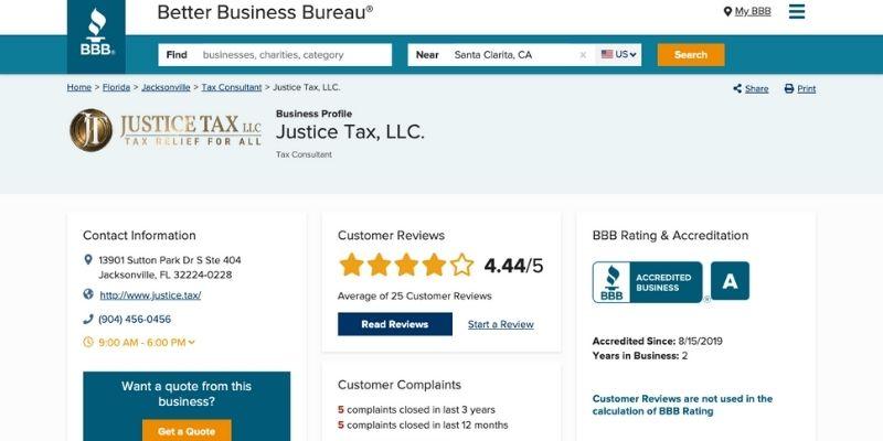 Justice Tax BBB