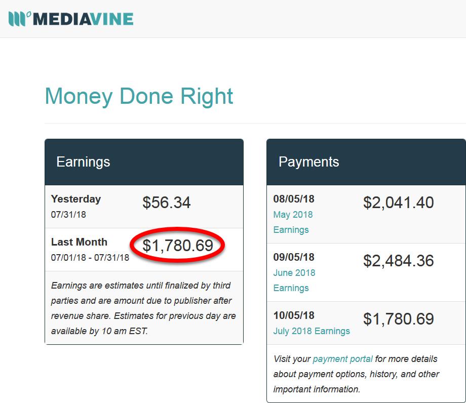 Mediavine Blog Income July 2018