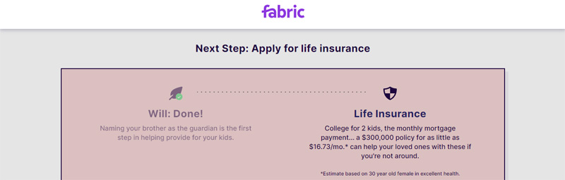 apply for life insurance with fabric