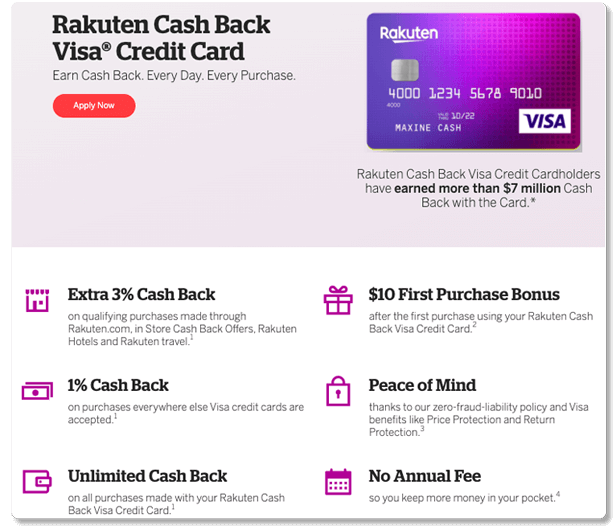 apply now for rakuten cash back visa credit card