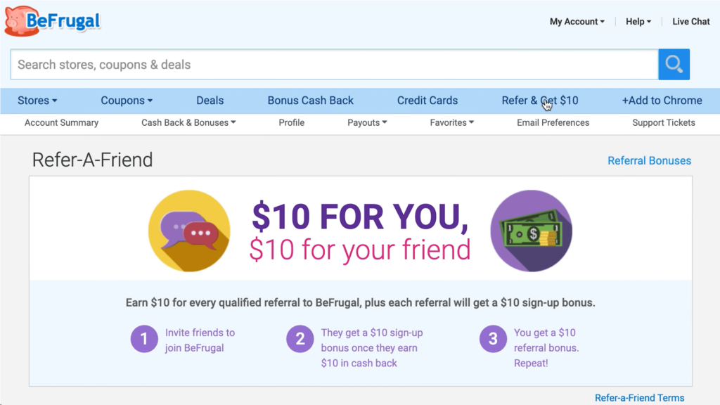 befrugal refer a friend