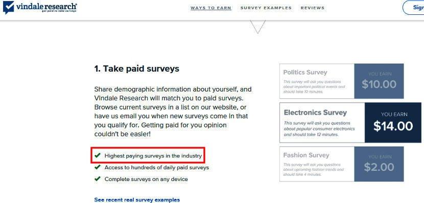 Cash for Surveys Vindale Research - Claim