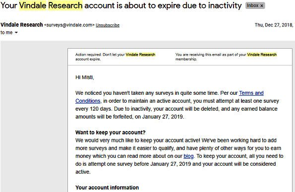 Cash for Surveys Vindale Research - Inactivity Message