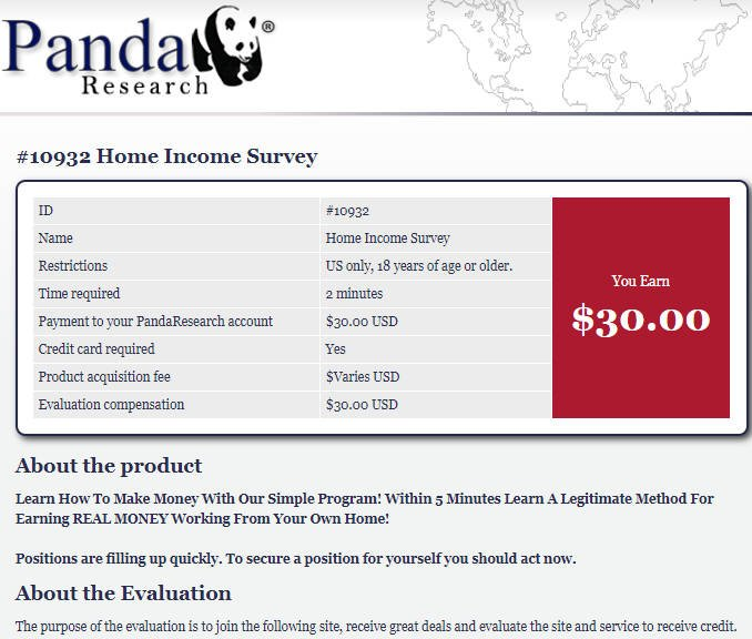 Cash Surveys Panda - Misleading About Survey