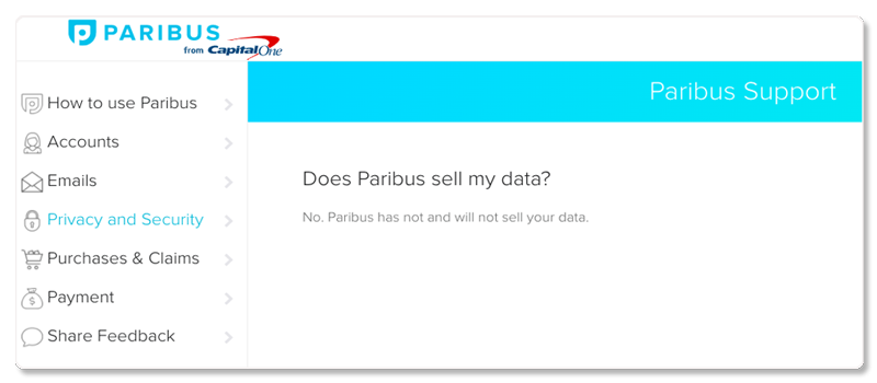 does paribus sell my data