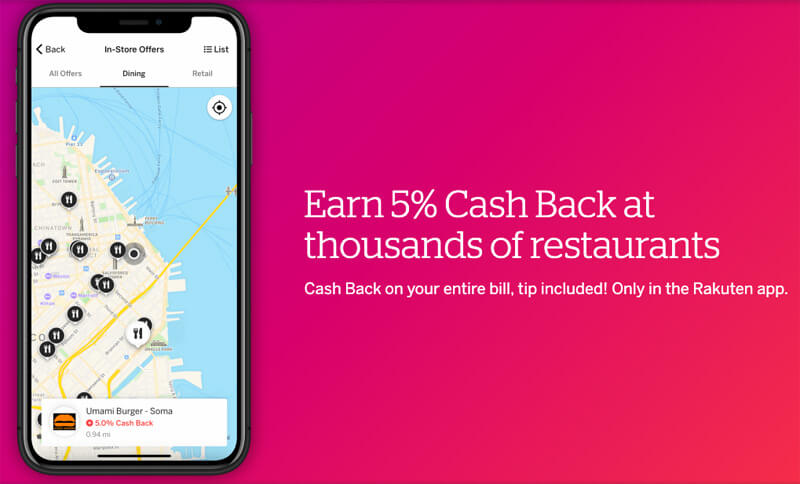 earn cash back at restaurants with rakuten