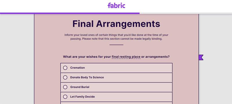 fabric final arrangements