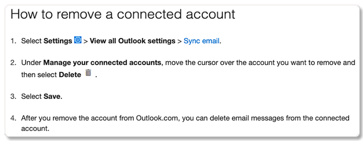 how to remove outlook account on paribus