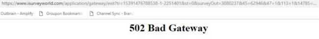 iSurveyWorld Survey Website 502 Error