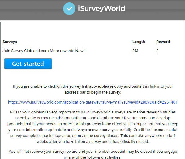 iSurveyWorld Survey Website Email