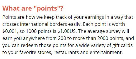 Legitimate Paid Surveys Point Club - Points Value