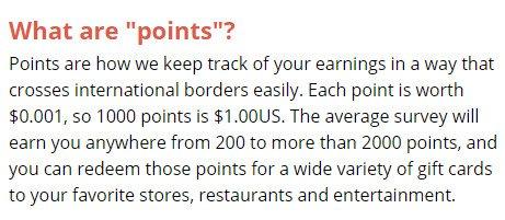 Legitimate Paid Surveys Point Club - Points Value