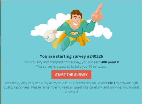 Legitimate Paid Surveys Point Club - Taking Survey