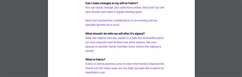 make updates on fabric