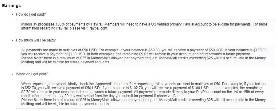MindsPay Paid Surveys - Earnings Info
