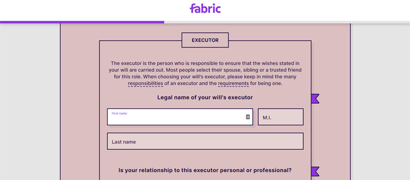 name an executor with fabric
