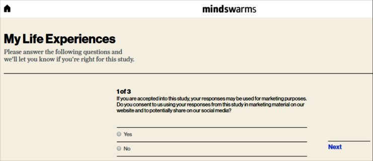 Online Survey Mindswarms - Applying for Study Question