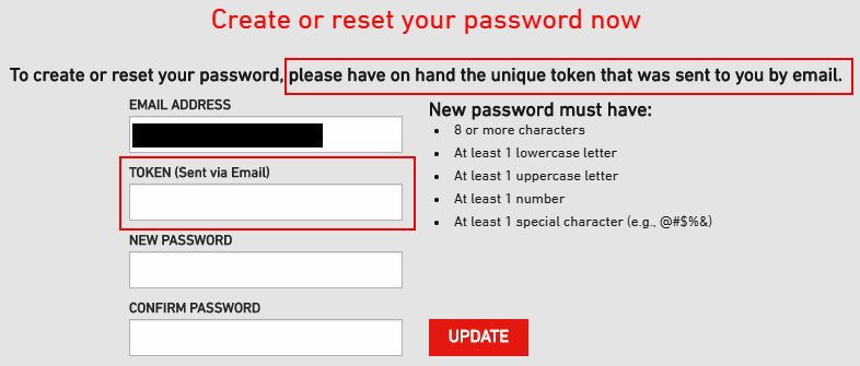 Online Survey Shopper's Voice - Create Password Page
