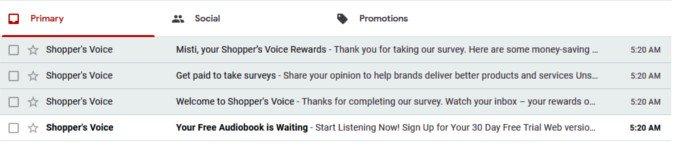 Online Survey Shopper's Voice - Emails