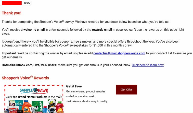 Online Survey Shopper's Voice - Message After Signing Up