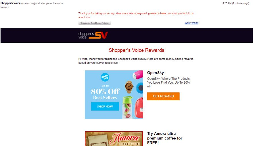 Online Survey Shopper's Voice - Money Saving Rewards Email