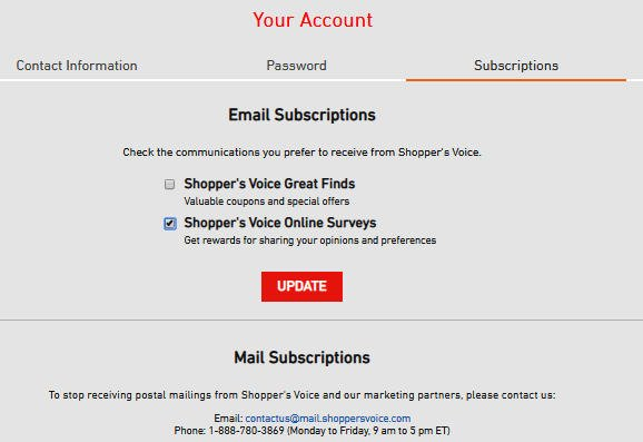 Online Survey Shopper's Voice - Subscription Management