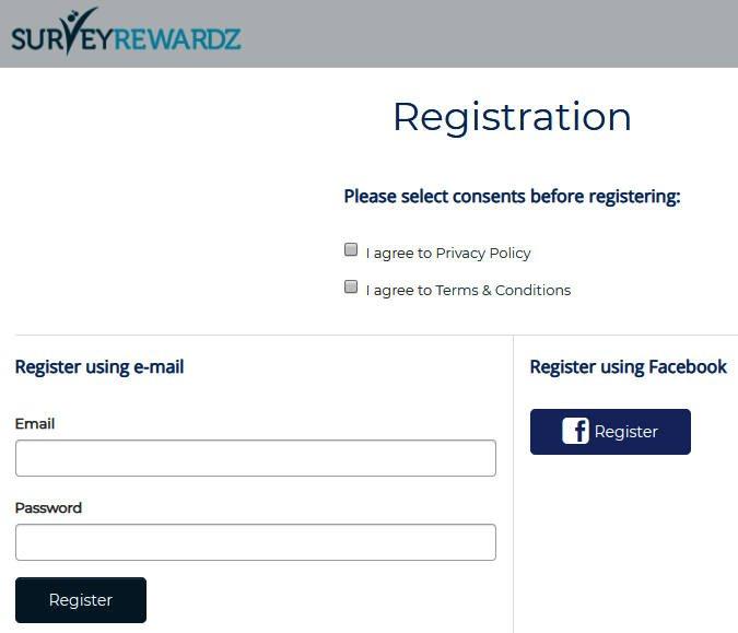 Online Survey Survey Rewardz - Signing Up