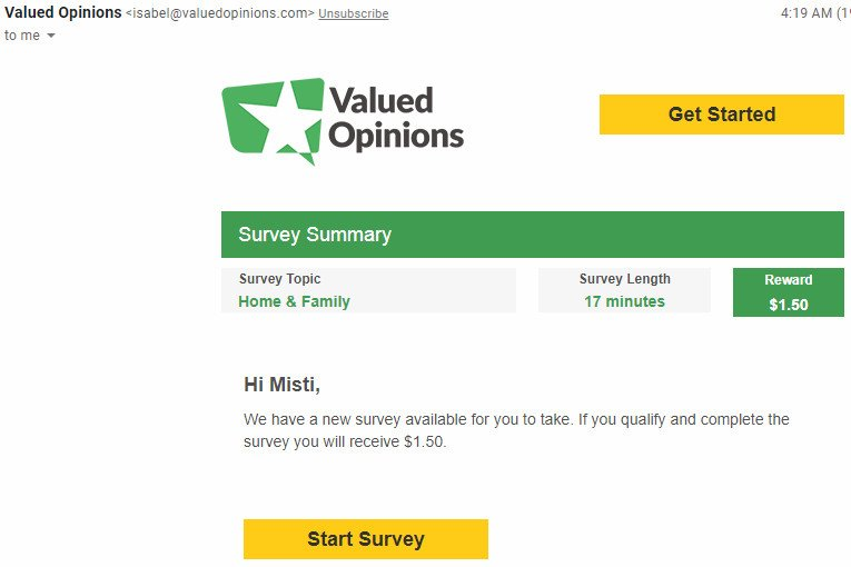 Online Survey Valued Opinions - Email Survey