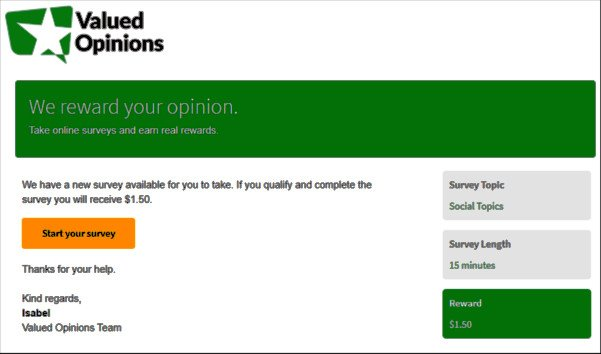 Online Survey Valued Opinions - Page After Answering Survey Questions