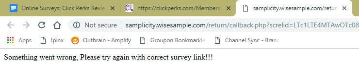 Online Surveys Click Perks Error Message