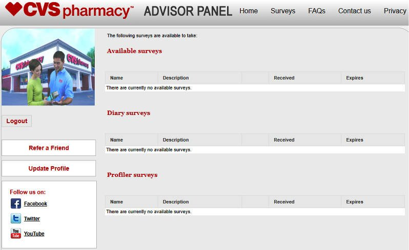 Online Surveys CVS - Available Surveys Area