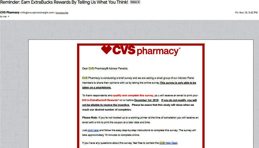 Online Surveys CVS - Email Survey Invite