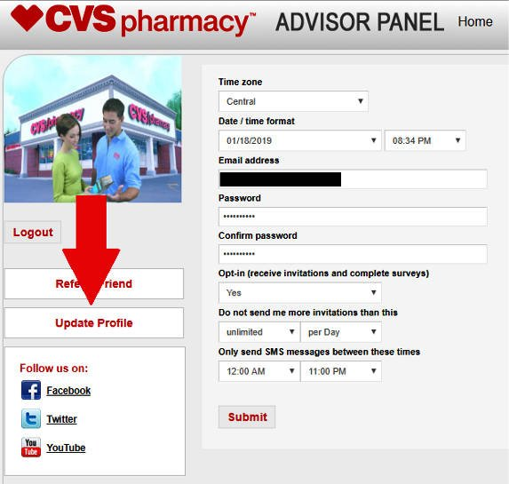 Online Surveys CVS - Update Profile