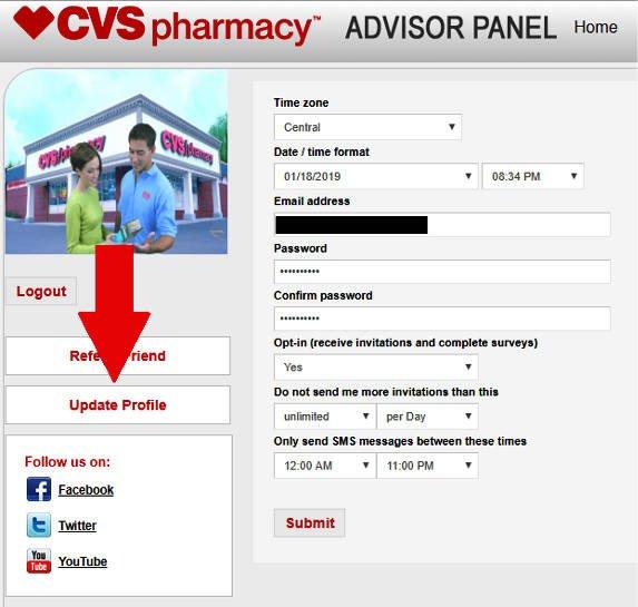 Online Surveys CVS - Update Profile