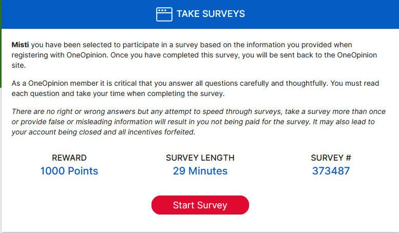 Online Surveys One Opinion - Available Survey