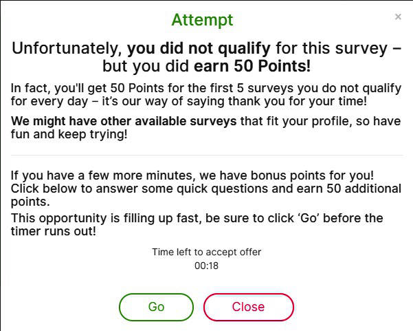 Online Surveys One Opinion - Fail to Qualify Message