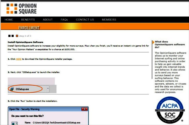 Online Surveys OpinionSquare - Install Software Message