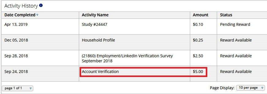 Online Surveys Product Report Card - Account Verification Bonus