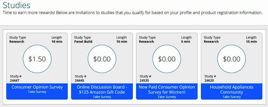 Online Surveys Product Report Card - Available Surveys