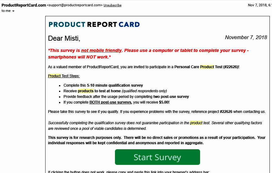 Online Surveys Product Report Card - Email Product Test