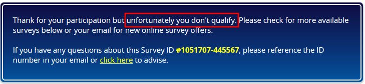Online Surveys Tellwut - Disqualification Message