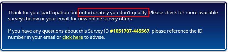 Online Surveys Tellwut - Disqualification Message